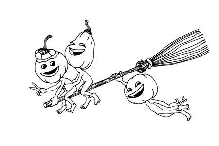 young funny pumpkins flying on a broom, concept of halloween holiday party, vector illustration with black ink contour lines isolated on a white background in a cartoon & hand drawn style Illusztráció