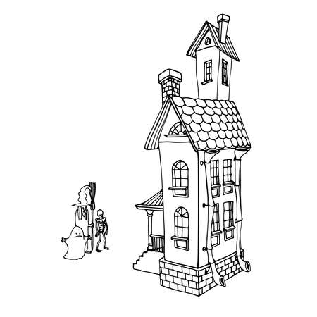 stone house with roof tiles, trick or treat, tradition of halloween holiday, vector illustration with black ink contour lines isolated on a white background in a cartoon & hand drawn style