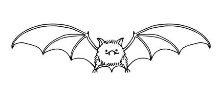 cute funny bat, bloodsucker, symbol of vampire, midnight & halloween holiday, pet, vector illustration with black ink contour line isolated on a white background in a doodle & hand drawn style