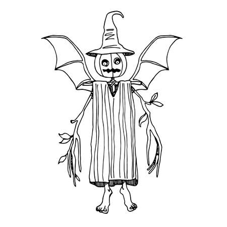 living scarecrow with pumpkin head & bat wings, emblem for Halloween holiday, vector illustration with black ink contour lines isolated on a white background in a hand drawn & doodle style