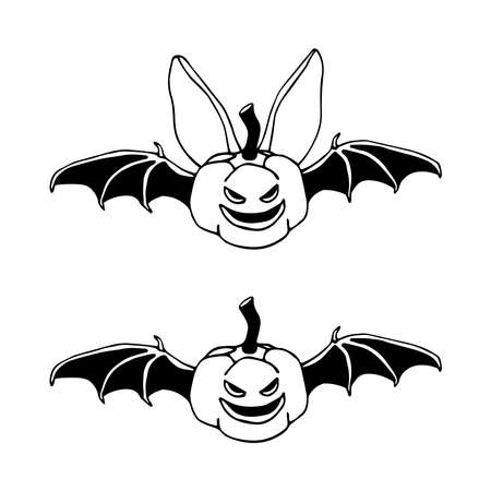 funny bat with pumpkin head, bloodsucker, symbol of vampire & halloween holiday, pet, vector illustration with black ink contour line isolated on a white background in a doodle & hand drawn style