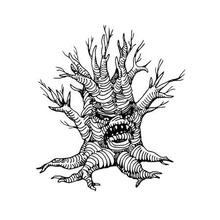 scary dry dead tree, the mystical character of Halloween holiday, monster with human face, vector illustration with black contour lines isolated on a white background in a doodle & hand drawn style