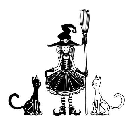 young smiling girl in witch costume for halloween holiday masquerade with broom & cats, vector illustration with black ink contour lines isolated on a white background in a cartoon & hand drawn style