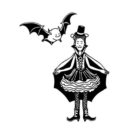 young smiling girl in vampire costume for halloween holiday masquerade with little bat, vector illustration with black ink contour lines isolated on a white background in a cartoon & hand drawn style Illusztráció