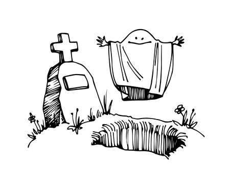 cute ghost in a shroud rising from the grave with tombstone, halloween character, vector illustration with black ink contour lines isolated on a white background in a cartoon & hand drawn style