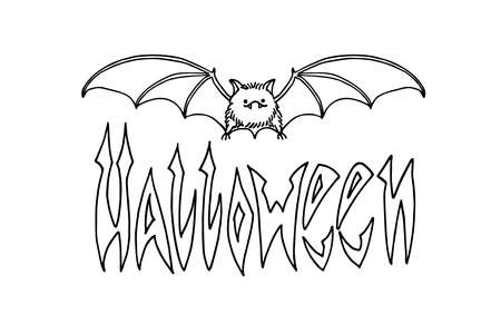 cute bat, symbol of vampire & Halloween, inscription for festive banner, poster,  vector illustration with black ink contour lines isolated on a white background in a doodle & hand drawn style Illusztráció