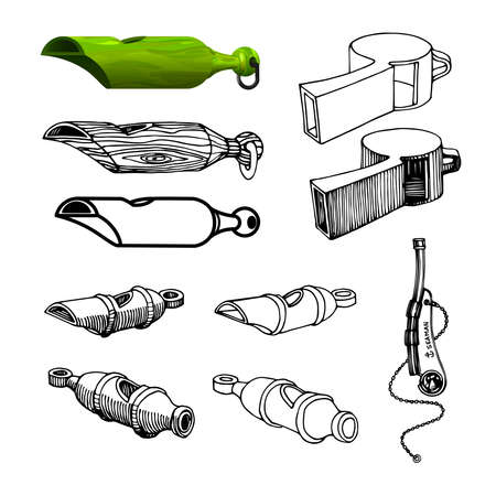 set of simple whistles for coaching or for referees of sports games or military, vector illustration with black ink contour lines isolated on a white background in a doodle & hand drawn style