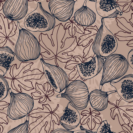 seamless pattern of a set of fruits figs with leaves, for decoration, ornament, textures, vector illustration with blue ink contour lines on a gray background in a hand drawn & doodle style