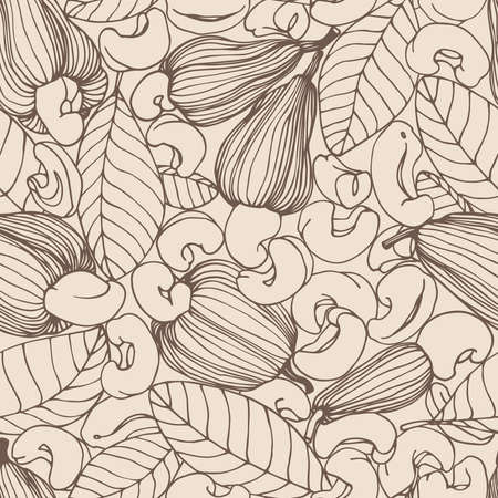 seamless pattern of a set of peeled cashew nuts, leaves & fruits, for ornaments, menu decorations, color vector illustration with sepia contour lines on a milky background in a hand drawn style