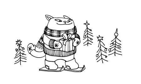 cute smiling cat in felt boots, gloves & scarf, goes skiing with a Christmas gift, vector illustration with black ink contour lines isolated on a white background in a cartoon & hand drawn style Illusztráció