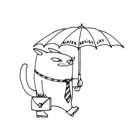 cute smiling cat in necktie walks to office with briefcase & umbrella, vector illustration with black ink contour lines isolated on a white background in a cartoon & hand drawn style Illusztráció