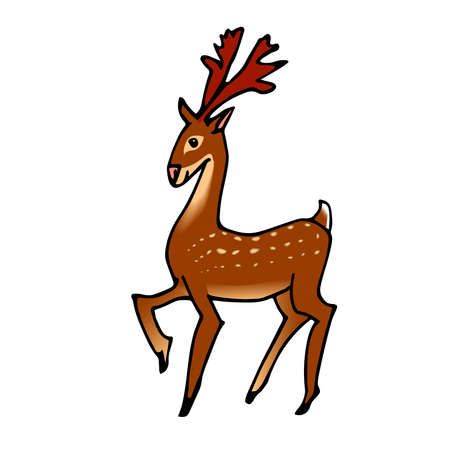 Santa's spotted deer, a symbol of Christmas & New year, for holiday cards, decorations, color vector illustration with black ink lines isolated on a white background in cartoon & hand drawn style