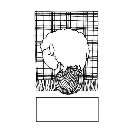 cute sheep on a ball of thread, logo or emblem for knitting, wool & cotton materials, vector illustration with black ink contour lines isolated on a white background in a doodle & hand drawn style