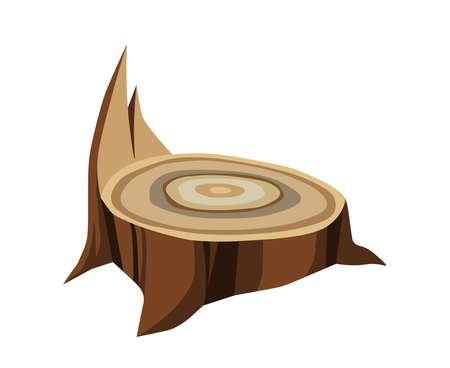 single brown wooden stump, symbol of a logging industry, color vector illustration isolated on a white background in a cartoon & clip art design