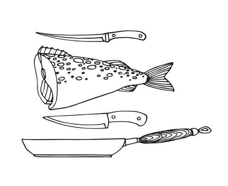 cod, frying pan, fish knife, decorative elements for restaurant seafood menu, vector illustration with black ink contour lines isolated on a white background in a Doodle and hand drawn style