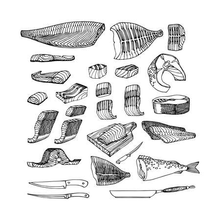 Fish fillets of cod, salmon, flounder for barbecue. Delicious seafood. Restaurant menu decoration. Vector illustration with black lines isolated on a white background in a doodle & hand drawn style.