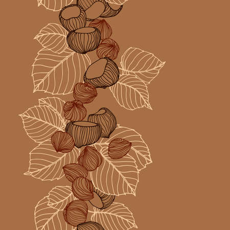 vertical seamless pattern of a set of hazelnuts & kernels, for menu design or confectionery, textiles, vector illustration with colored contour lines on a brown background in doodle & hand drawn style 일러스트
