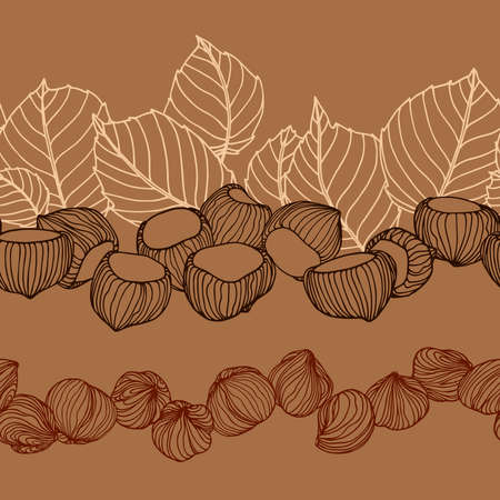 horizontal seamless pattern of hazelnuts, leaves & kernels, for menu design or confectionery, textiles, vector illustration with colored lines on a brown background in doodle & hand drawn style