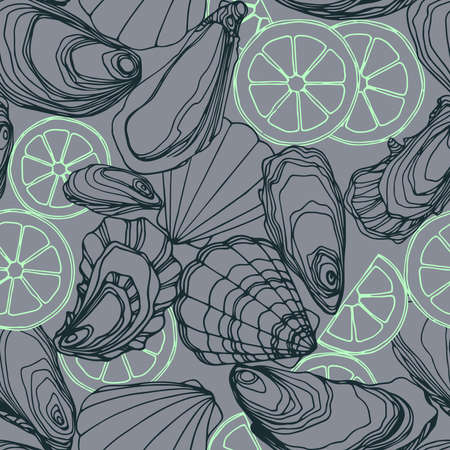 seamless pattern of oysters in the shell, scallops, lemon, delicious seafood, menu decoration, vector illustration with color contour lines on a gray background in a doodle & hand drawn style
