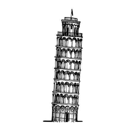 leaning tower of Pisa, famous Italian tourist landmark, vector illustration with black ink lines isolated on a white background in doodle & hand drawn style