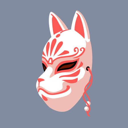white traditional Japanese kitsune mask with red patterns, folk mystical character, demon, fox, color vector illustration on a gray background, clipart design