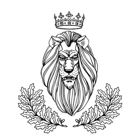 lion's head with a Royal crown & an oak wreath ornament, heraldic symbol of nobility, bravery, power, leadership, success, vector illustration isolated on a white background in a hand drawn style