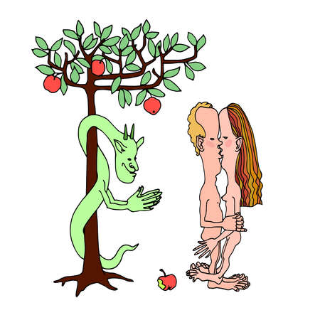 the kiss of Adam & Eve, tree of knowledge with apples & green serpent, biblical story, color vector illustration with black contour lines isolated on a white background in a doodle & hand drawn style Illusztráció