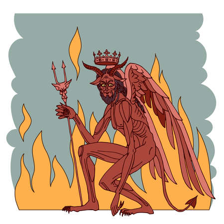 satan, devil with crown and flames, king of the hell, religious symbol of evil, orthodox icon, color vector illustration isolated on a white background in a cartoon and hand drawn style Vektoros illusztráció