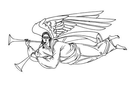 angel with trumpet flying on wings, heaven messenger, for christmas and easter cards, posters, vector illustration with black ink contour lines isolated on a white background in hand drawn style