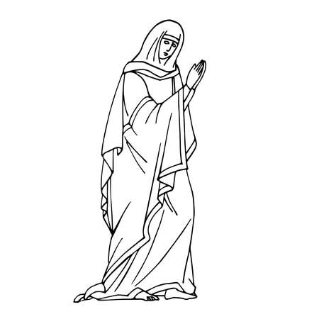 holy virgin Mary in prayer pose from orthodox icon, biblical character, vector illustration with black ink contour lines isolated on a white background in hand drawn style
