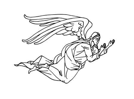 winged angel from orthodox icons, heaven messenger, for christmas and easter cards, posters, vector illustration with black ink contour lines isolated on a white background in hand drawn style