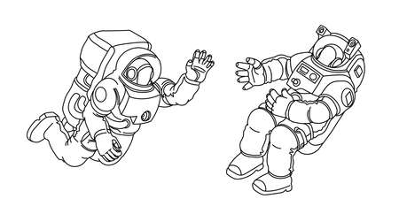 a pair of astronauts in spacesuits floating in zero gravity, meeting in outer space, vector illustration with black contour lines isolated on a white background in a hand drawn and cartoon style