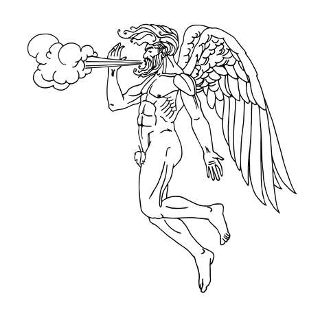 north wind, ancient Greek god Boreas flying on wings, mythological character, weather concept, vector illustration with black ink lines isolated on white background in cartoon and hand drawn style  イラスト・ベクター素材