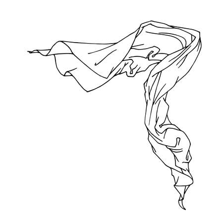 a piece of cloth fluttering in the wind, scarf, drapery for decoration, vector illustration with black ink contour lines isolated on a white background in a doodle and hand drawn style Vektoros illusztráció