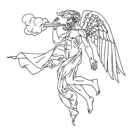 north wind Boreas, Greek god in drapery, flying on wings, mythological character, weather concept, vector illustration with black ink lines isolated on white background in cartoon and hand drawn style
