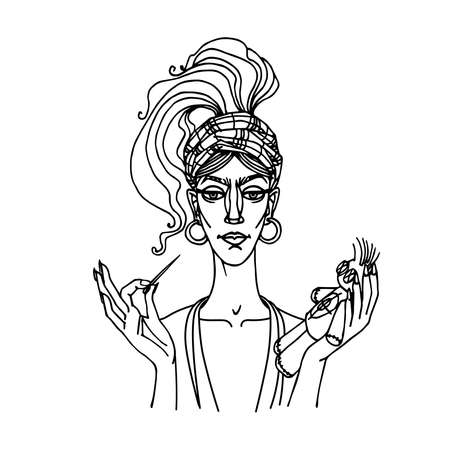 cute young gypsy woman with pin and voodoo doll, vamp-female concept, dangerous love game, vector illustration with black contour lines isolated on white background in hand drawn style Vetores