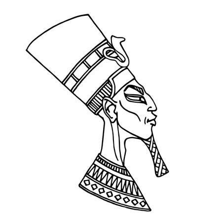 the head of an ancient Egyptian pharaoh in a high decorated turban, for touristic logo or emblems and cards, vector illustration with black ink contour lines isolated on a white background in cartoon