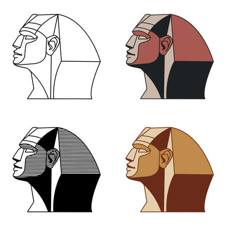 head of the ancient great sphinx of Giza, for tourist logo or emblem, color vector illustration with black lines isolated on a white background, various design, cartoon, contour drawing, Logo
