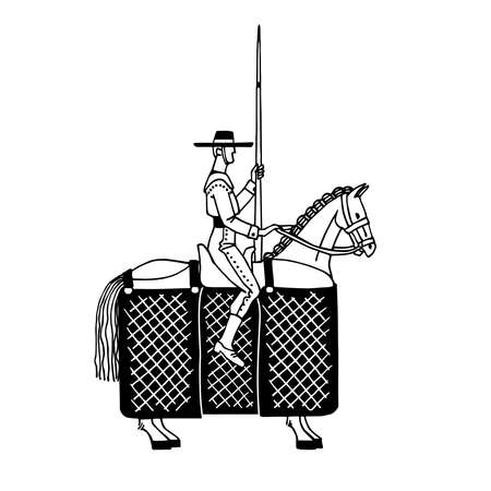 picador on horseback, the character of the Spanish bullfight, for logo, emblem and posters, vector illustration with black contour lines isolated on a white background in cartoon and hand drawn style