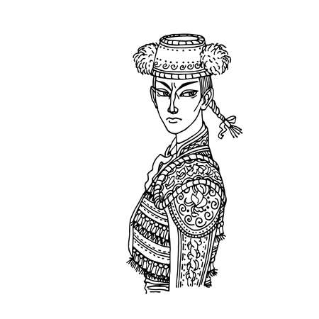 woman toreador in festive jacket and traditional cap, the character of the Spanish bullfight, vector illustration with black contour lines isolated on white background in cartoon and hand drawn style