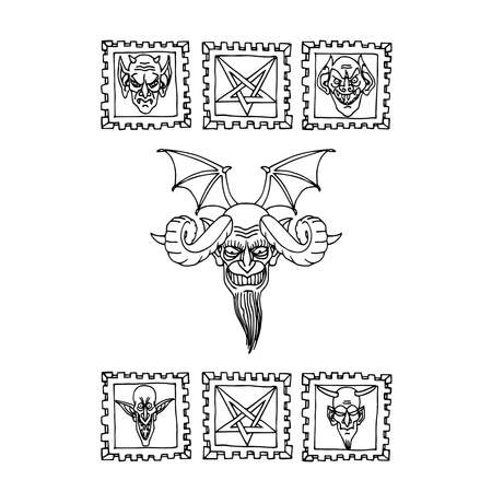 satan head, devil with bat wings & horns, religious symbol of evil, pentagram ornament, vector illustration with black ink contour lines isolated on a white background in cartoon & hand drawn style Векторная Иллюстрация