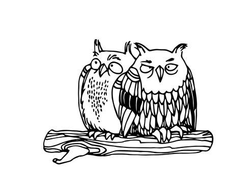 a pair of funny young owls sitting on a branch, night birds, vector illustration with black ink contour lines isolated on a white background in doodle and hand drawn style