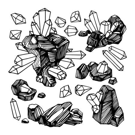 coal with minerals, magic stones with diamonds and gemstones, piece of rock with crystals, set, vector illustration with black ink lines isolated on a white background in cartoon and hand drawn style