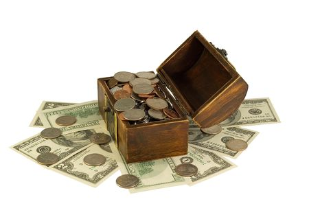 overfilled: opened wooden chest with couns and dollars isolated on the white background