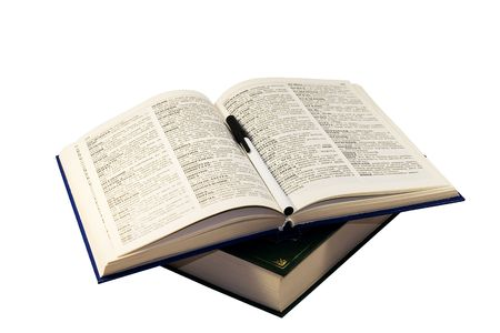 thesaurus: opened book isolated on white