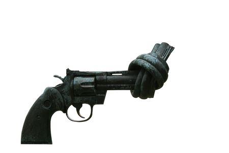 oude revolver pistool met vastgebonden snuit geïsoleerd op wit