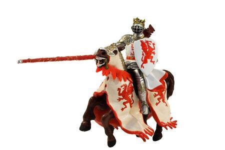 statue of medieval knight on horse isolated on white