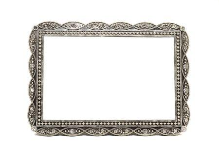 antieke metalen plaatje en foto frame met ruimte voor tekst Stockfoto