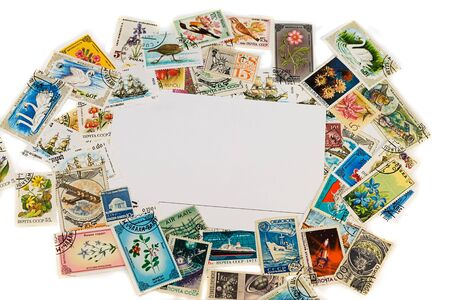 blank postcard with vintage stamps and space for text Stock Photo - 4421156