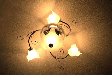 Retro bedroom lamp, old chandelier photo